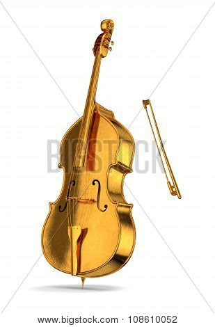 Golden cello isolated on white