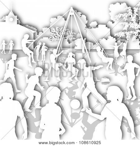 White cutout illustration of children playing in a school playground