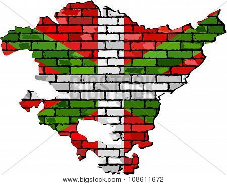 Basque Map On A Brick Wall.eps