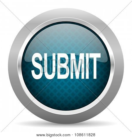 submit blue silver chrome border icon on white background  poster