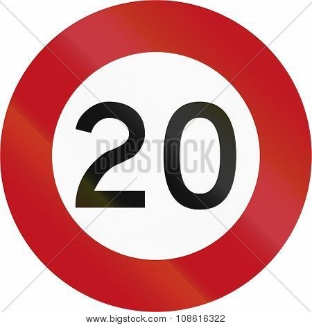 New Zealand Road Sign R1-1 - 20 Kmh Limit