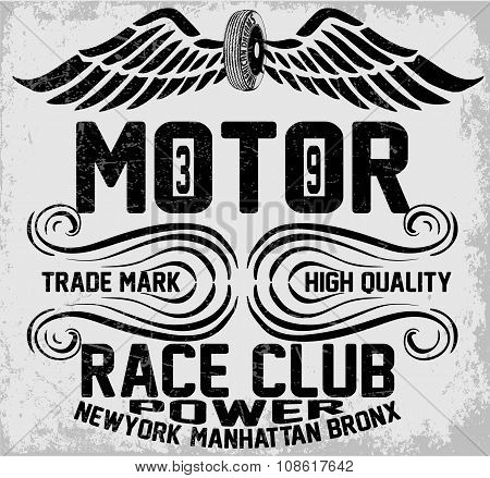 Newyork Manhattan Bronx Motorcycle Typography, T-shirt Graphics, Vectors, Vintag