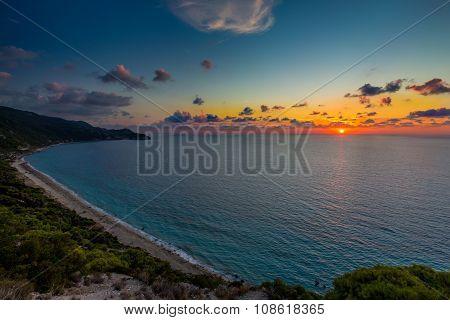 Pefkoulia beach Lefkada at sunset