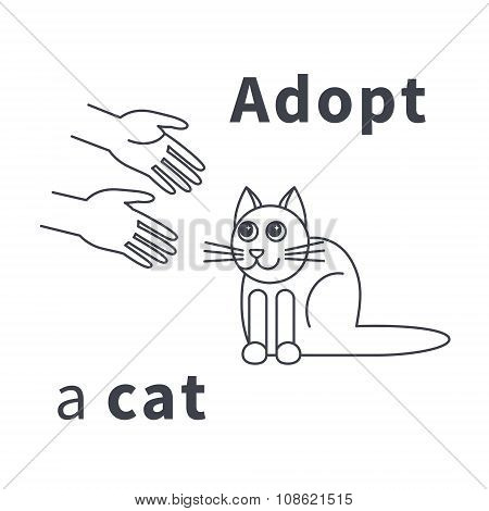 Adopt a cat line icon