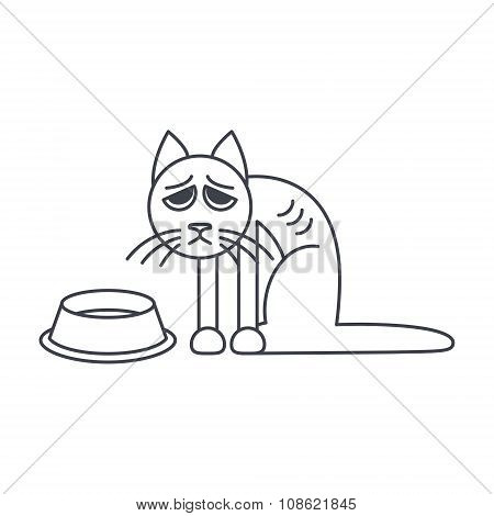 Poor hungry cat sits near empty bowl. Vector line icon isolated on white background. poster