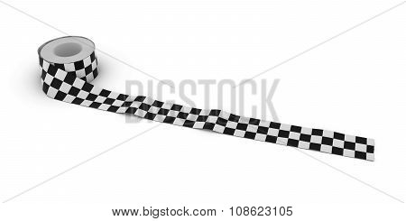 Black And White Checkered Finishing Line Tape Roll Unrolled Across White Floor