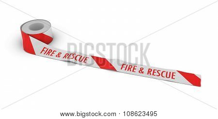Fire & Rescue Tape Roll Unrolled Across White Floor