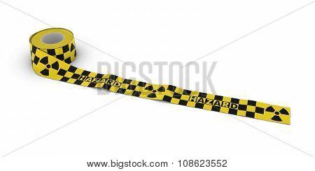 Radiation Hazard Tape Roll Unrolled Across White Floor