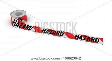 Red And White Striped Hazard Tape Roll Unrolled Across White Floor