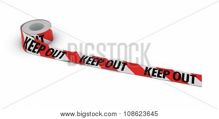 Red And White Striped Keep Out Tape Roll Unrolled Across White Floor