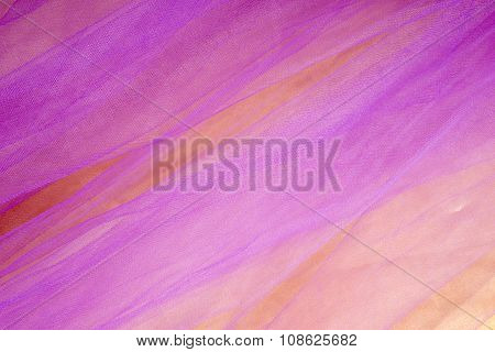 Colorful Tulle on Satin Fabric Background