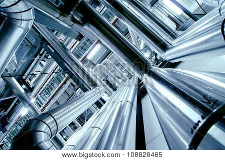 Industrial Zone, Steel Pipelines, Valves And Ladders