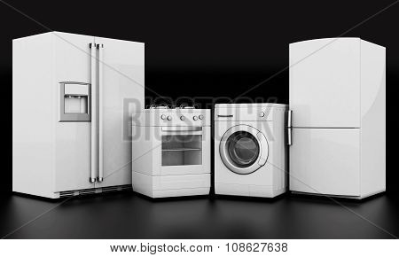 picture of household appliances on a black background poster