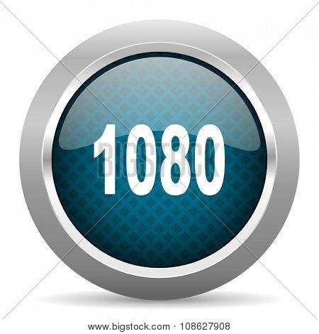 1080 blue silver chrome border icon on white background