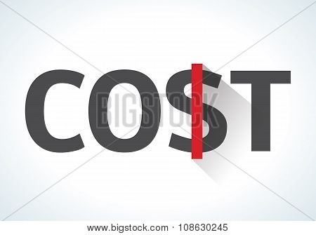 Word cost isolated on white background with red dollar sign