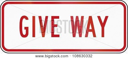 New Zealand Road Sign Rg-6R - Supplementary Give Way Plate