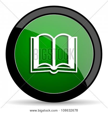 book green web glossy circle icon on white background