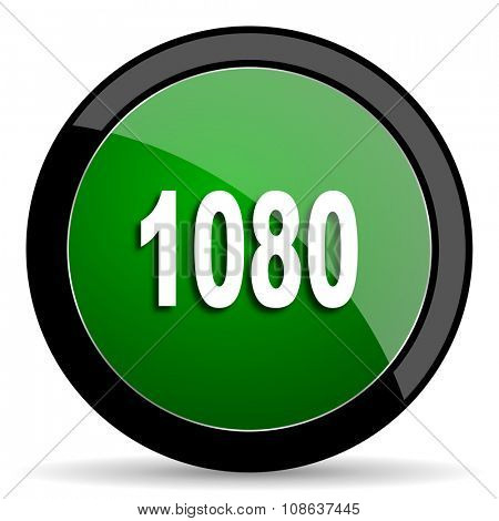 1080 green web glossy circle icon on white background