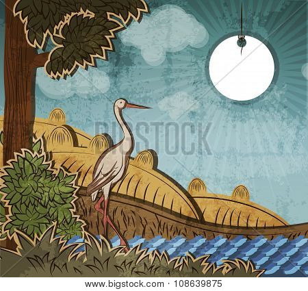 Stork In Front Of Countryside. Illustration To Fairy Tale Ugly Duckling (hans Christian Andersen).