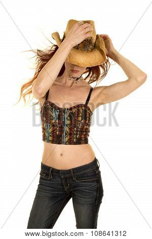 Cowgirl Halter Top Stand Hat On And Down