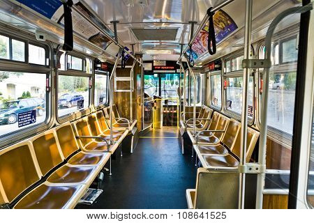 SAN FRANCISCO, USA - JUNE 12, 2011: public Bus without passengers stopping at final busstop
