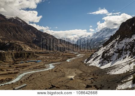 View of Valley at Manang Village on the Annapurna Circuit