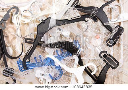 Big Messy Pile Of Hangers On The Floor.
