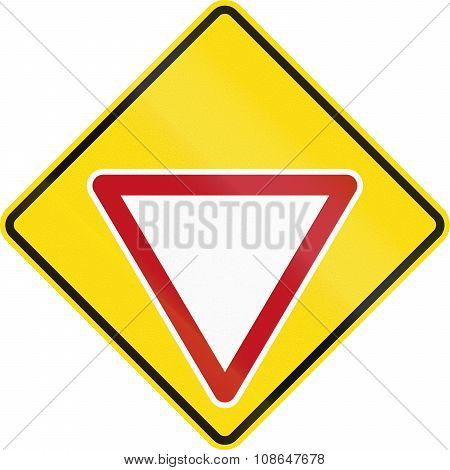 New Zealand Road Sign Pw-2 - Give Way Sign Ahead