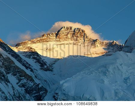 Evening View Of Mount Lhotse From Pumo Ri Base Camp
