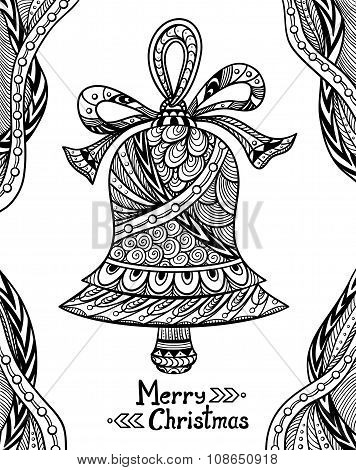 Christmas Bell in Zen-doodle style black on white