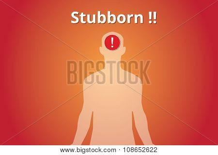 stubborn concept with human body silhouette