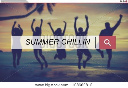 People Silhouette Summer Chillin Concept