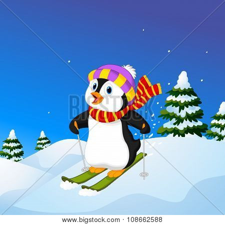 Cartoon penguin skiing down a mountain slope