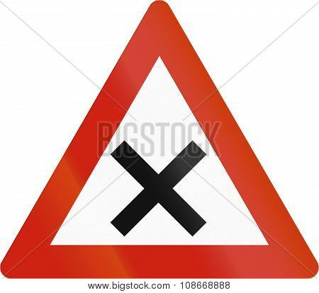 Norwegian Road Warning Sign - Uncontrolled Crossroads