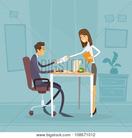 Businessman Sitting Office Desk Businesswoman Give Paper Concept