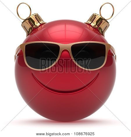 Christmas ball smiley face Happy New Year's Eve emoticon bauble cartoon cute decoration red. Merry Xmas funny glasses smile person character toy laughing joyful adornment souvenir concept poster