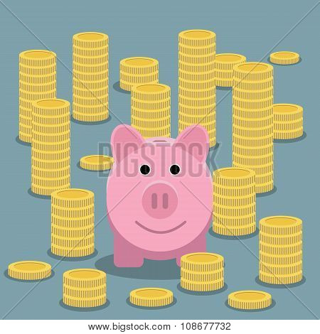 Piggy bank and coin stacks