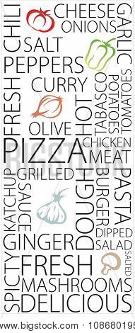 Wording related pizza restaurant and ingredients, eat healthy live healthy
