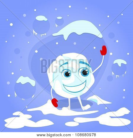 Snowball Laughing Red Gloves Cartoon Funny Character Winter Ball Snow Smile Face Concept Flat Vector Illustration poster