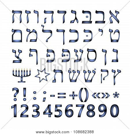 Hebrew font. The Hebrew language. Vector illustration on isolated background