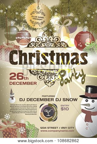 Vector Christmas Party Invitation Vintage Style. Vector Template