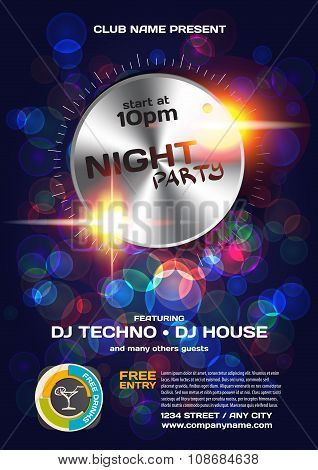 Vector Night Party Invitation Techno Style. Vector Template Grap