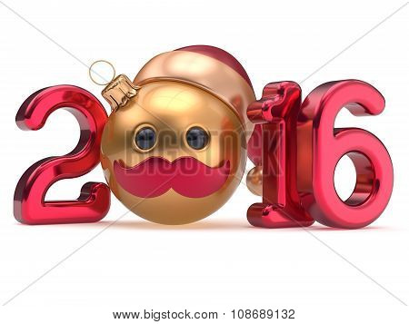 New Year's Eve 2016 date Christmas ball emoticon bauble Santa Claus hat cartoon mustache face decoration red gold. Happy Merry Xmas cheerful funny person character toy souvenir adornment poster