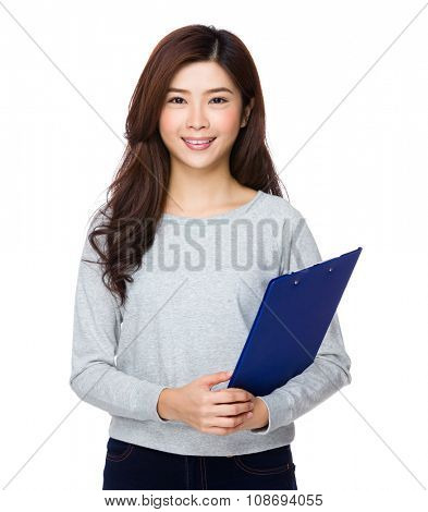 Woman hold with clipboard poster