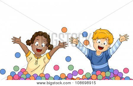 Illustration of Little Kids Playing Happily in a Ball Pit