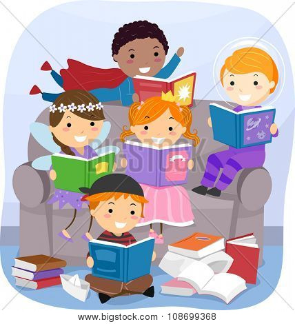 Stickman Illustration of Kids Reading Fantasy Books