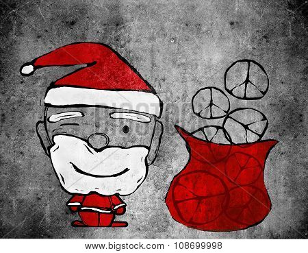 Santa Claus And Peace Symbols