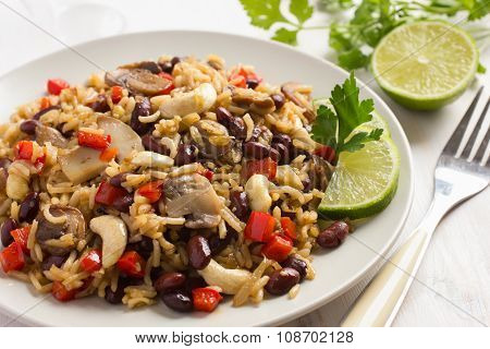 Rice With  Red Bean, Mushrooms And Vegetables