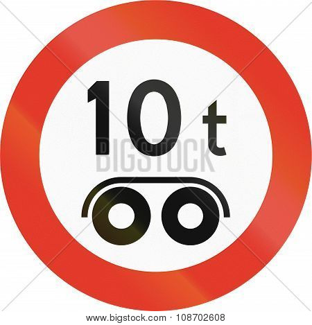 Norwegian Regulatory Road Sign - Bogie Weight Limit