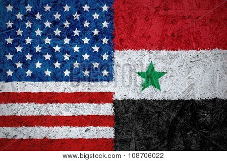 USA and Syria flags